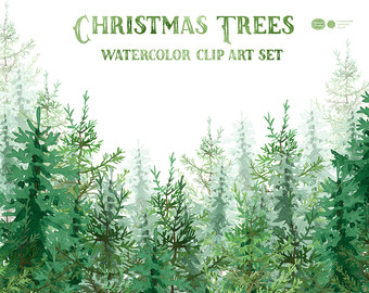 Wood clipart forrest Christmas Clip Christmas Trees Watercolor