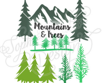 Pine Tree clipart green mountain Silhouette Silhouette clipart Trees digital