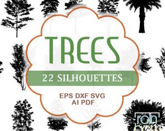 Pine Tree clipart two tree Trees Tree Etsy Clipart Silhouette