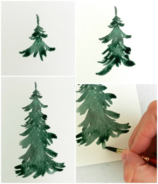 Drawn pine tree watercolor Watercolor Wintery Tutorial: Trees Pinterest