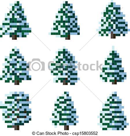 Pine Tree clipart pixel art Pixel of snowy csp15803552 Pixel
