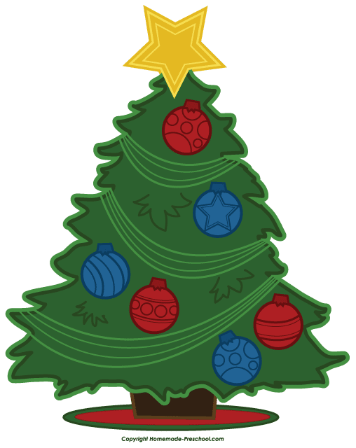 Pine Tree clipart real Tree red and Christmas blue