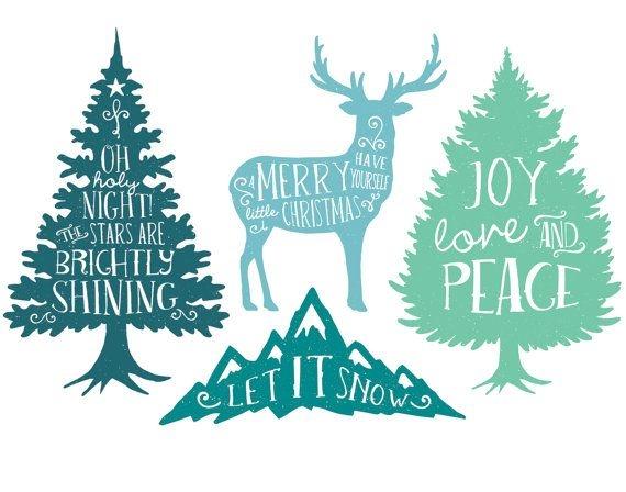 Christmas Tree clipart rustic Oak Rustic Digital Green com