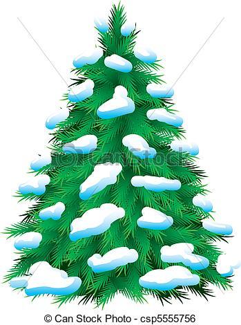 Drawn pine tree snow covered tree Fur Vector fur  snow