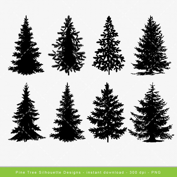 Pine Tree clipart tree silhouette Digital Tree art Tree Clip