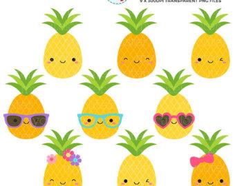 Pineapple clipart Etsy tropical Pineapple art Set