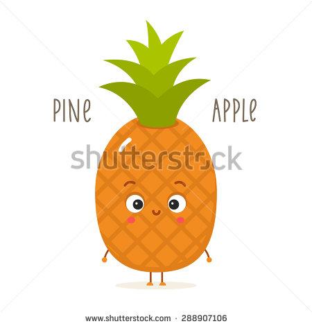 Pineapple clipart eye On pineapple white stock vector