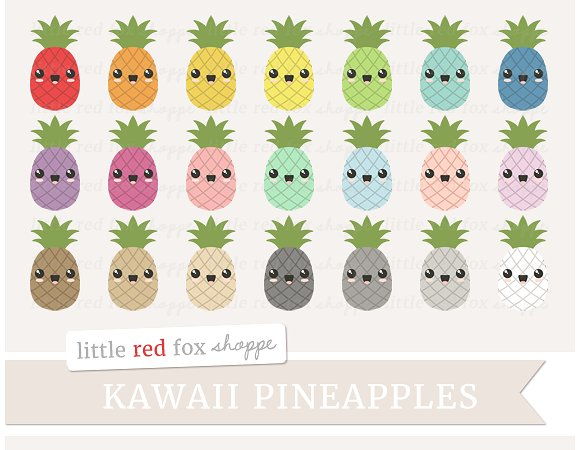 Pineapple clipart kawaii Clipart Clipart Creative Market Illustrations