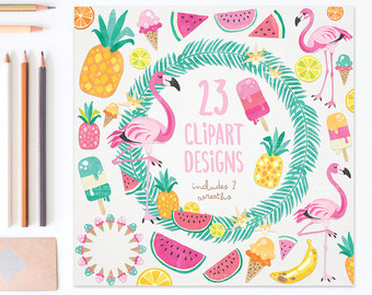 Pineapple clipart two FOR 3 Tropical Etsy Summer