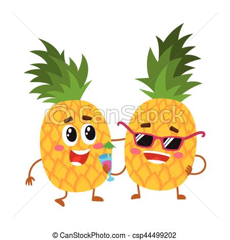 Pineapple clipart two Cute and cute characters pineapple