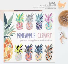 Pineapple clipart two Print Clipart: FOR 3 FOR