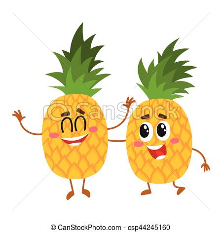 Pineapple clipart two Two and cute characters