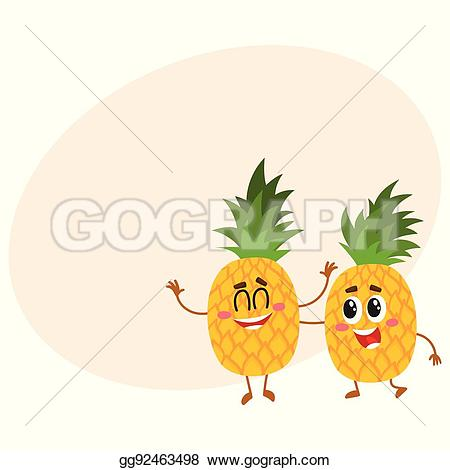 Pineapple clipart two With and Two EPS Vector