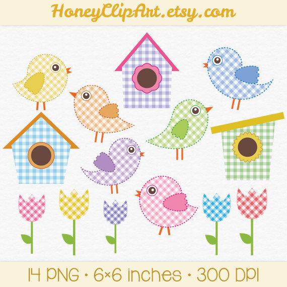 Blue Flower clipart bird Pink Birdhouse Bird Baby Art