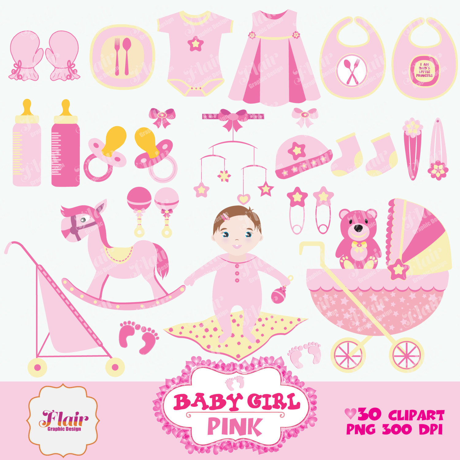 Pink clipart baby crib Baby Shower Digital is Baby