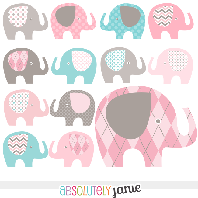 Pink clipart baby elephant Pin teal more  Grey