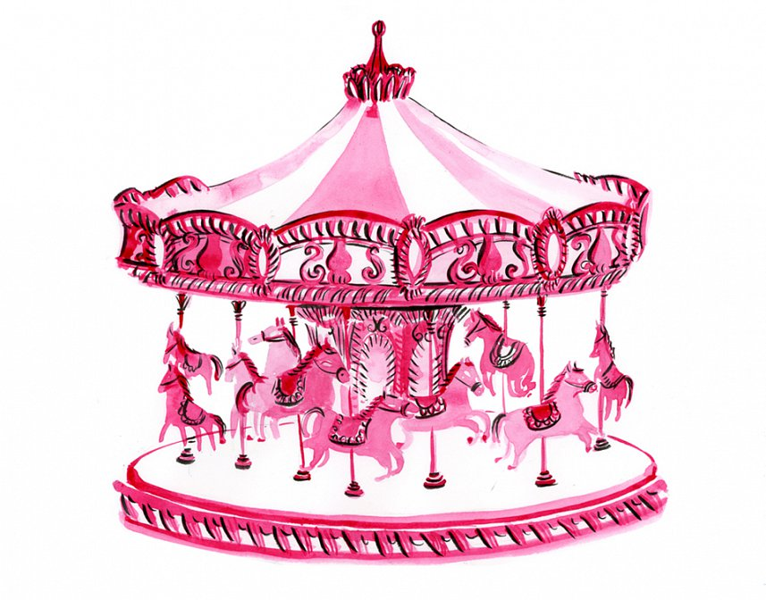 Carousel clipart pink Fuga Nina Illustration  Carousel