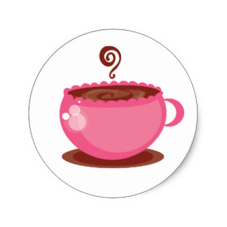 Pink clipart coffee cup Cup Coffee Pink Seals Stickers