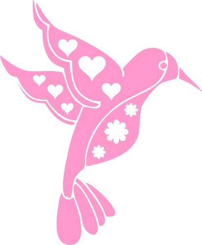 Pink clipart hummingbird Vinyl Sticker Cutout Groovy Decal