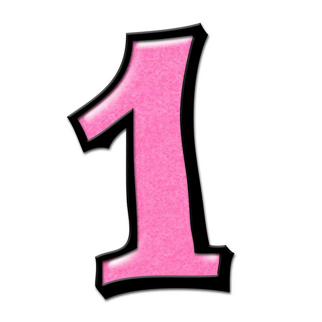 Pink clipart number one Number Free Clip Free Pink