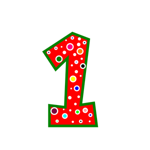Pink clipart number one  Green Number Pink Green