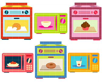 Pink clipart oven Library Clip Art Etsy Oven