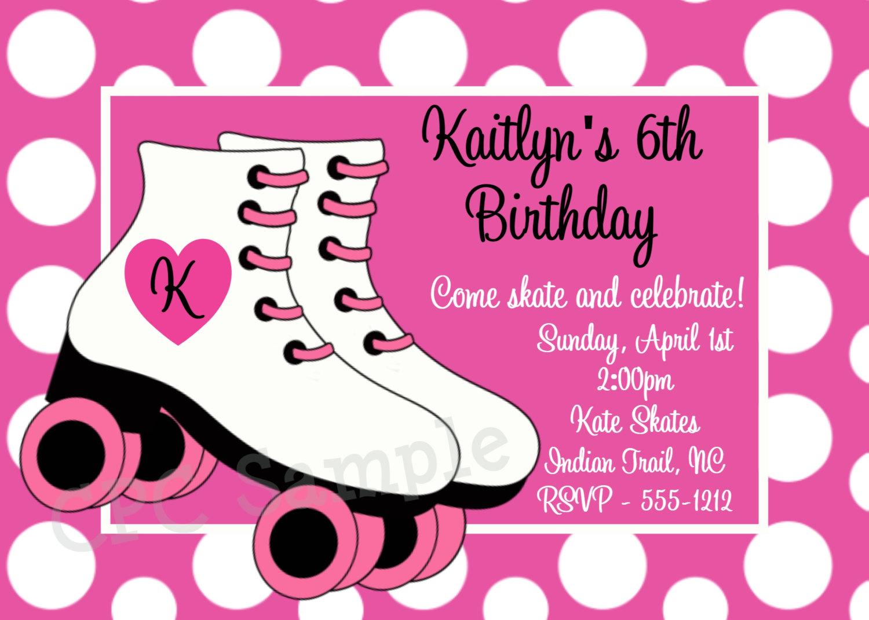 Pink clipart roller skate Birthday roller skate Invitation Printable