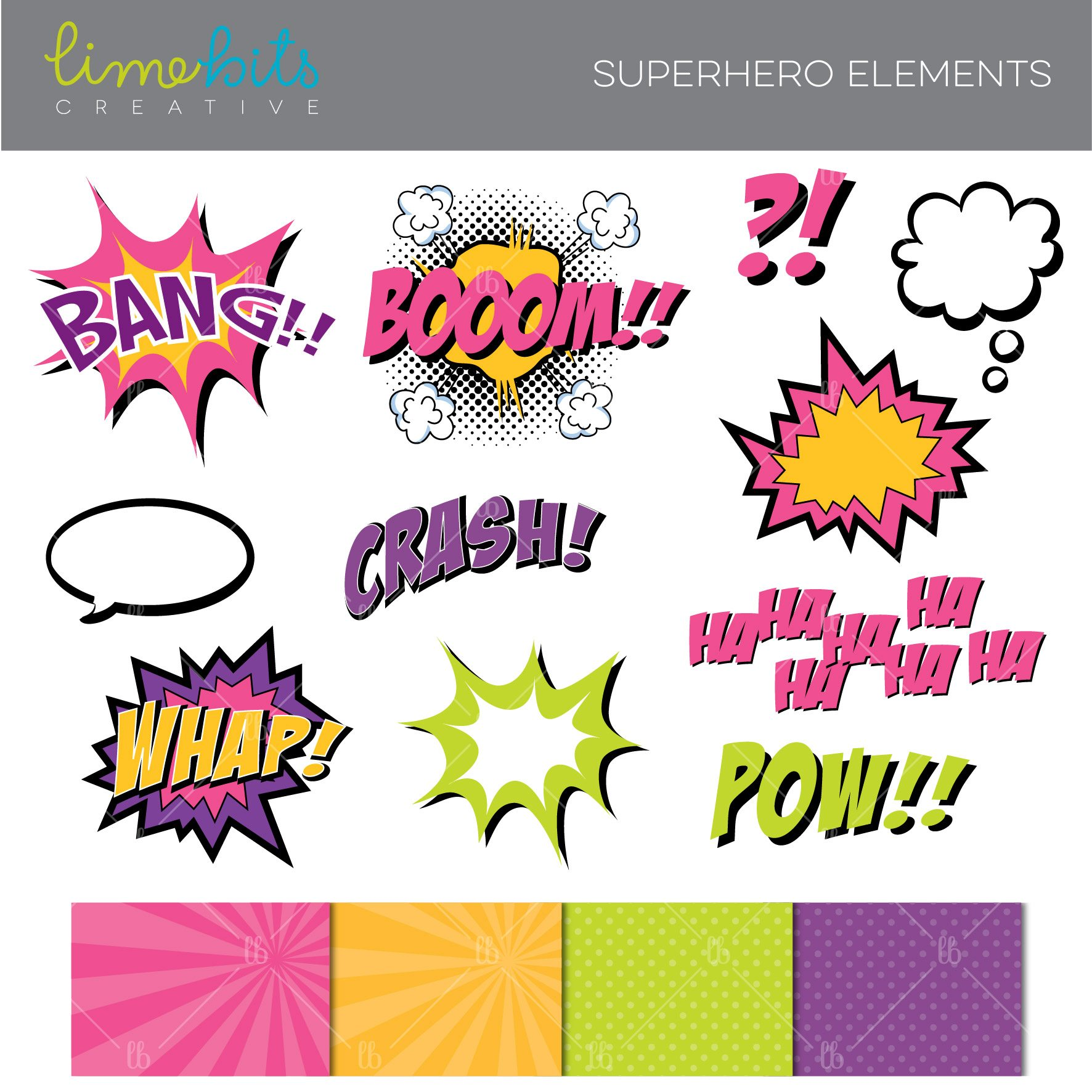 Pink clipart superhero Elements Superhero comic Pink book