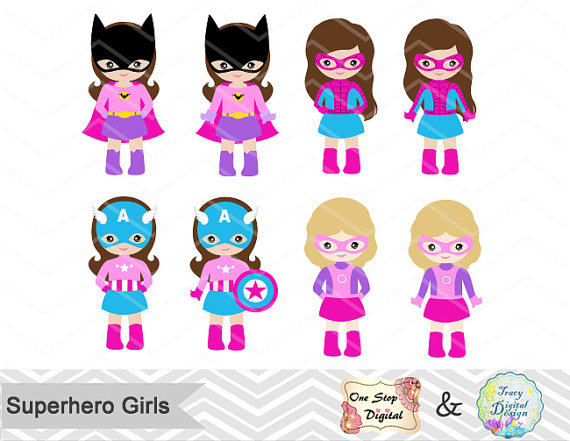 Pink clipart superhero Superhero  Girl Art Little