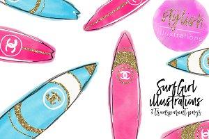 Pink clipart surfboard Surfboard art  Graphics Photos