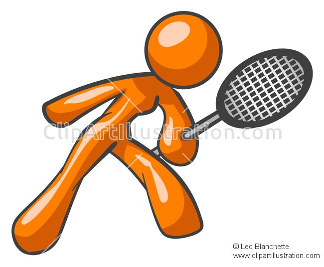 Pink clipart tennis racket Racket  Woman/Female Swinging Orange
