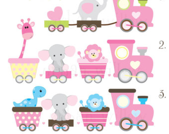 Baby Animal clipart train Baby Cute clipart Clipart Etsy