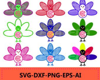 Pink clipart turkey Monogram SVG Turkey Thanksgiving Turkey