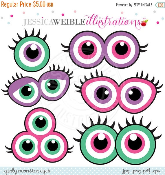 Pink Eyes clipart cute monster Party Printable this SALE Birthday