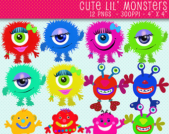 Pink Eyes clipart cute monster Whimsical Monsters graphics Monsters Art