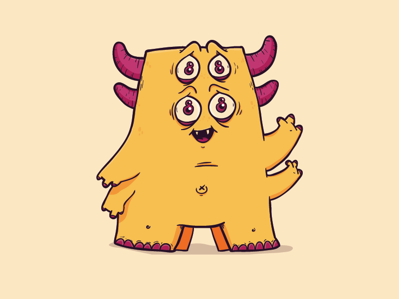 Pink Eyes clipart orange alien By davs Dribbble hi there