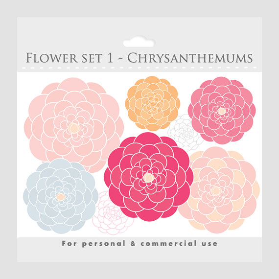 Floral clipart pink flower Floral flowers pink clipart Etsy