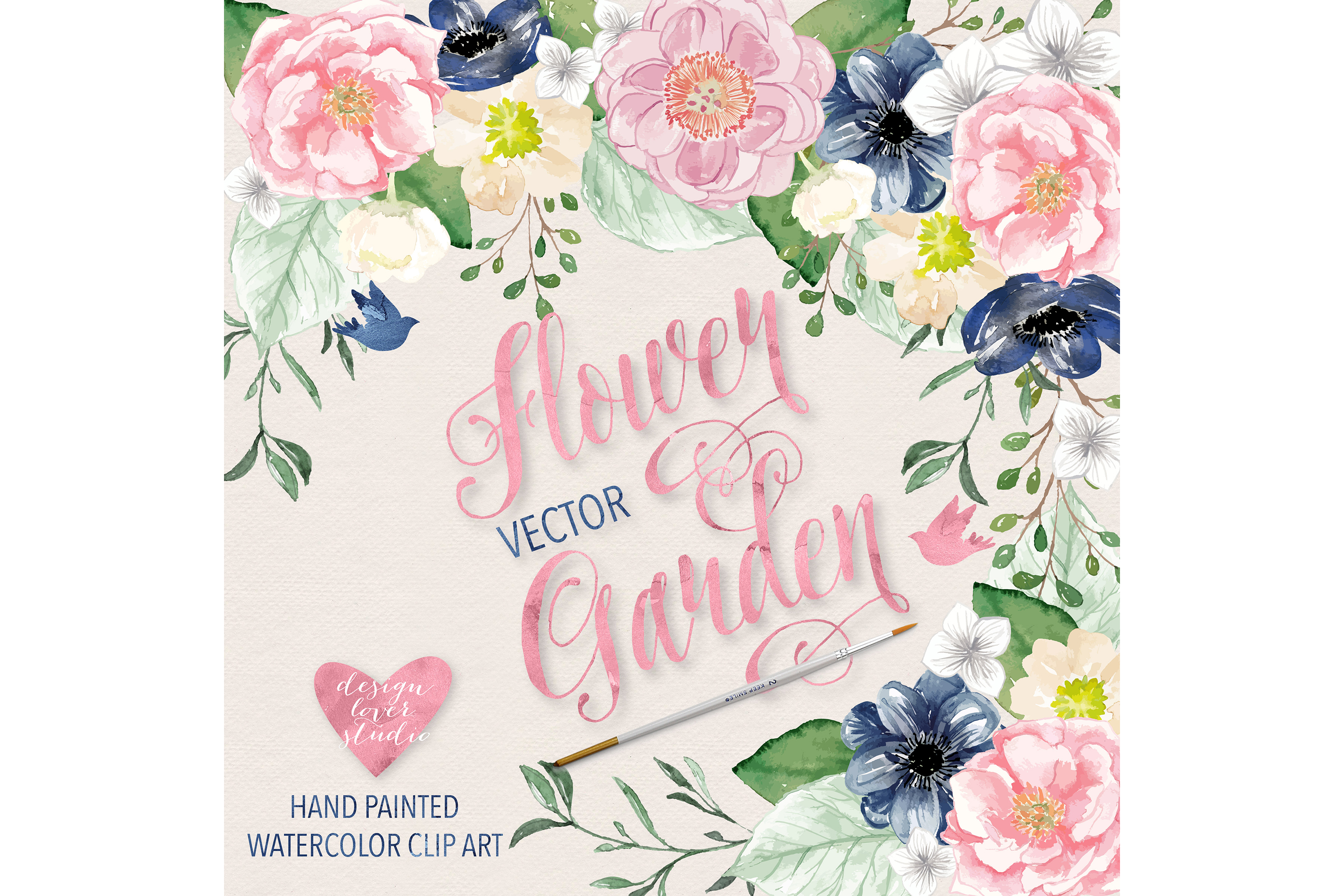 Pink Flower clipart blue flower Example Vector Design and Pink