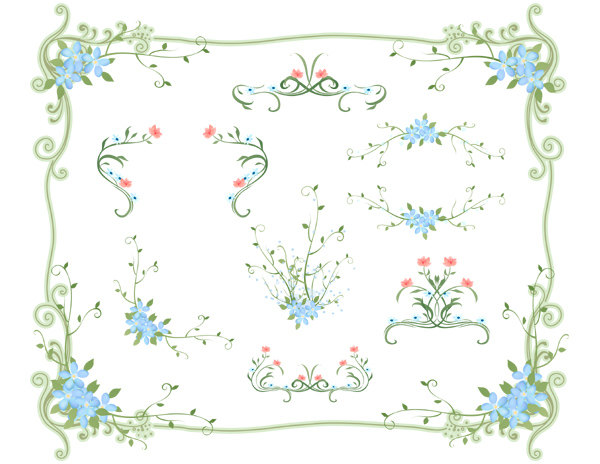 Pink Flower clipart blue flower Floral Pink Clipart Invitation Border