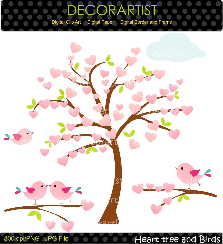 Pink Flower clipart flowering tree By Tree flowers art birds