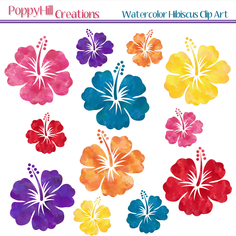 Plumeria clipart hawaiian flower Red Hibiscus Watercolor item? Digital
