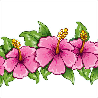 Pink Flower clipart hawaiian flower Tropical Flowers Border Flower Free