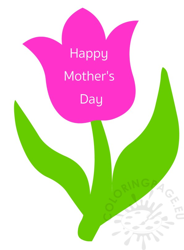 Pink Flower clipart mother's day Happy Pink tulip card Page