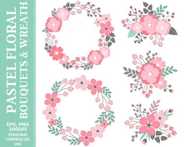Pink Flower clipart pastel flower Use & Bouquets Digital Wreath