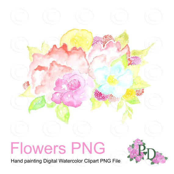 Pink Flower clipart pastel flower Art Clip Watercolor Digital Digital