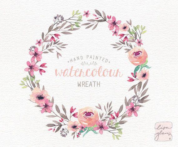 Pink Flower clipart pink colour Pink 25+ Pinterest wreath Watercolor