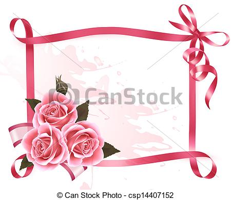 Pink Flower clipart ribbon Pink of flowers background Clipart