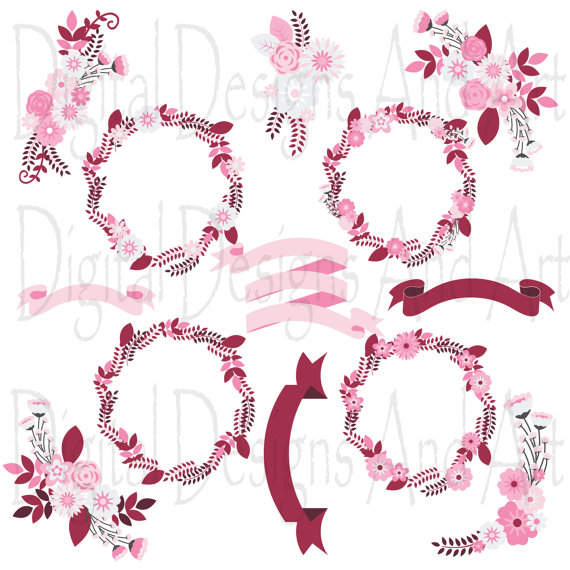 Pink Flower clipart ribbon Pink ribbon Floral flower art