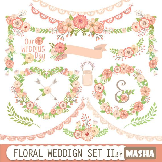 Pink Flower clipart ribbon WEDDING MY lace clipart: floral