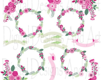 Pink Flower clipart ribbon Clipart Flower art clipart ribbons